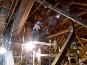 April 26, 2013 - Work progresses on the sanctuary roof structure