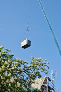 May 31, 2013 - The air conditioning units are being lowered into the St. Paul's Building