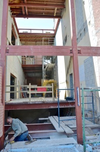 June 20, 2013 - The framing is being installed in the front entrance of the new St. Paul's Community Building