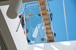 October 2, 2013 - The skylight is being installed in the atrium of the community building