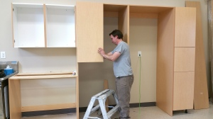 March 5, 2015 - The kitchen cupboards are being installed!