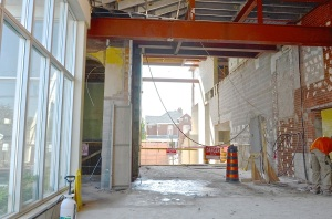 June 4, 2013 - The new atrium as taken from the parking lot door. On the left in the foreground are the glass windows in the old lift lobby
