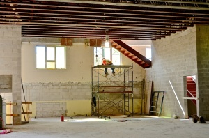 June 4, 2013 - A view of the large hall on the main floor. The windows shown are formerly those in the Fellowship Room along Main Street