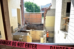 June 4, 2013 - Work progresses at the Main Street entrance. The entrance into the chapel can be seen on the left.