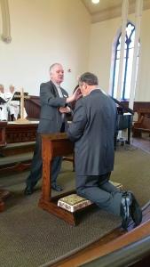 Baptism of Brent Tyrer wih Rev. Ken Jackson officiating, January 11, 2015