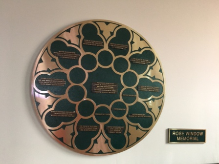 Rose Window Memorial Plaque